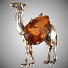 Reja Sterling Silver Camel Brooch Pin Rhinestone Belly Vintage