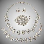 Reja Clear Rhinestone Parure Set Necklace Bracelet Brooch Earrings