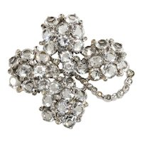 Reja LARGE Brooch Four Leaf Clover Clear Rhinestones Vintage Pin