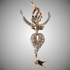 Reja Mermaid Sterling Silver Rhinestone Brooch Pin 1940s