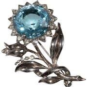 Reja Sterling Silver Blue Rhinestone Flower Brooch Pin 1940s
