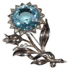 Reja Sterling Silver Blue Rhinestone Flower Brooch Pin 1940s Vintage