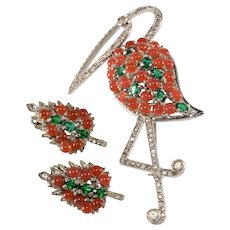 Reja Sterling Stork Bird Brooch Pin and Leaf Earrings Set Vintage 1940s