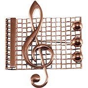 Renoir Treble Clef Musical Notes Brooch Pin Vintage