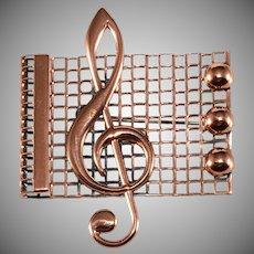 Renoir Treble Clef Musical Notes Brooch Pin Vintage