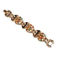 Retro 1930s Bracelet Bezel Set Rhinestones Gold Plated Sculptural Designer Quality Vintage