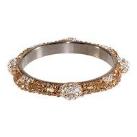 Bangle Bracelet Clear Beige Rhinestones Richard Kerr Style