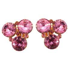 Original by Robert Pink Rhinestone Earrings Vintage