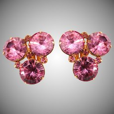Original by Robert Pink Rhinestone Earrings Vintage