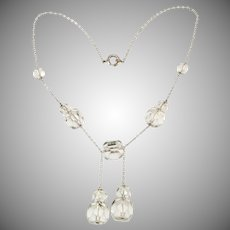 Art Deco Rock Crystal Negligee Necklace Vintage 1930s