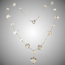 Art Deco Rock Crystal Y Necklace Vintage 1930s