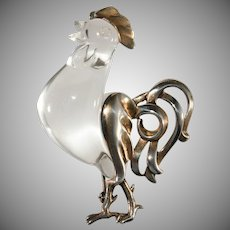 1940s Jelly Belly Rooster Brooch Pin Lucite and Sterling Silver Vintage