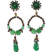 Louis Rousselet Green Gripoix Glass 4 Inch Dangle Earrings
