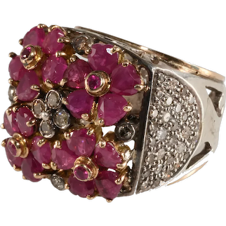 Ruby and Diamond Band Cluster Ring Sterling Silver Gold Accents Size 8