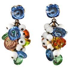 Sandor Multicolor Beads Dangle Earrings Vintage