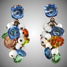 Sandor Multicolor Beads Dangle Earrings Vintage