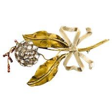Sandor Brooch Pin Flower Sterling Silver Enameled Vintage