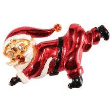 Santa Claus Pin Running Falling Enameled Brooch Vintage