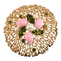 Sarah Coventry Brooch Fashion Splendor Green Rhinestones Pink Cabochons Vintage