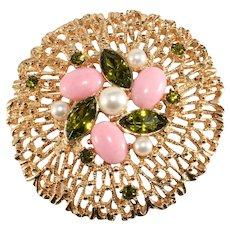 Sarah Coventry Brooch Fashion Splendor Green Rhinestones Pink Cabochons Vintage