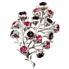 Sarah Coventry Wisteria Pink Purple Rhinestone Brooch