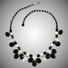 Schiaparelli Black and Iridescent Molded Glass Necklace Vintage