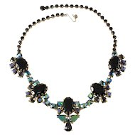 Schiaparelli Black and Iridescent Rhinestone Necklace Vintage