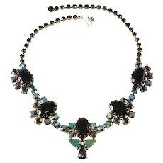 Schiaparelli Black and Iridescent Rhinestone Necklace Vintage