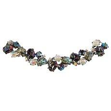 Schiaparelli Bracelet Lava Rock Iridescent Rhinestones Vintage