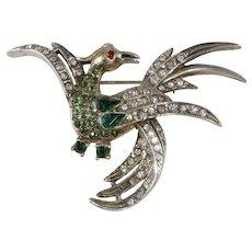 Schiaparelli Sterling Silver Bird Brooch Pin Rhinestones Vintage