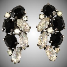 Schiaparelli Black and Iridescent Molded Glass Earrings Vintage