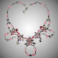 Schiaparelli 1950s Pink and Gray Rhinestone Necklace Vintage