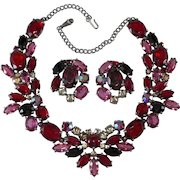 Schiaparelli Red Rhinestones Necklace and Earrings Set
