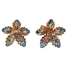 Schoffel Austria Iridescent Rhinestone Earrings Vintage