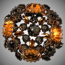 Schreiner Amber and Gray Rhinestone Brooch Pin Vintage
