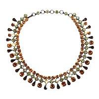 Schreiner Necklace Collar Amber Yellow Brown Rhinestones Vintage