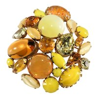 Schreiner Brooch LARGE Domed Yellow Amber Rhinestones Art Glass Vintage