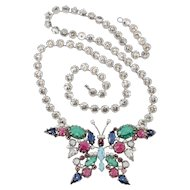 Schreiner LARGE Butterfly Convertible Necklace Brooch Vintage