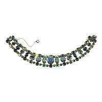 Schreiner Bracelet Rhinestones Glass Cabochons Blue Green Vintage