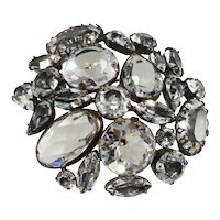 Schreiner Clear Rhinestone Collage Brooch Vintage