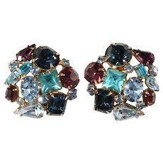 Schreiner Blue Purple Rhinestone Collage Earrings Vintage