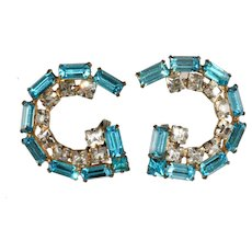 Schreiner Turquoise Blue Rhinestone Earrings Unmarked Vintage