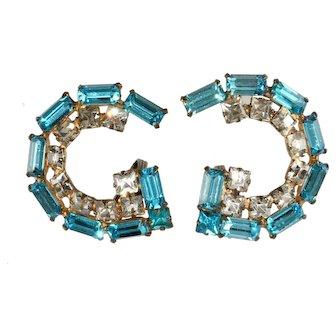 Schreiner Turquoise Blue Rhinestone Earrings Unmarked Vintage
