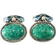 Schreiner Green Cabochon Rhinestone Earrings Vintage
