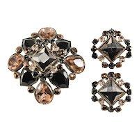 Schreiner Brooch Earrings Set Hematite Brown Black Rhinestones Vintage