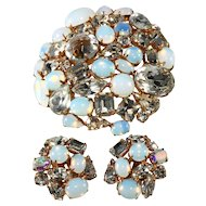 Schreiner Opalescent and Clear Rhinestone Brooch Earrings Set