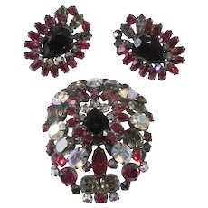 Schreiner Cranberry Red and Gray Rhinestone Brooch and Earrings Set