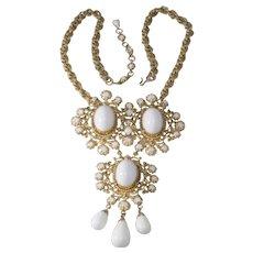 Schreiner White Cabochon Statement Necklace Brooch 1960s
