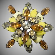 Schreiner Yellow and Amber Rhinestone Brooch Unmarked