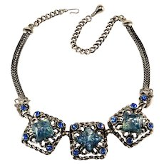 Selro Blue Glitter Lucite and Rhinestone Necklace Vintage 1950s